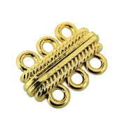 Multi-Strand Magnetic Clasp 3-strand 23x16x7mm Gold Tone - 3 Sets