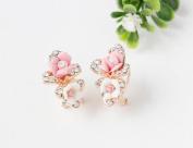 Hunputa Women Flower Charm Crystal Ear Studs Crystal Earrings