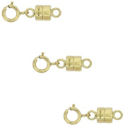3 PACK 14K Gold-Filled 4.5mm Magnetic Clasp Converter For Necklaces, Acklet and Bracelets with 5mm Spring Ring Clasp