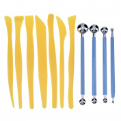 eBoot 7 Pieces Plastic Crafts Clay Modelling Tools with 4 Pieces Metal Ball Stylus Pottery Sculpting Modelling Tools