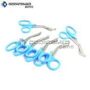 OdontoMed2011® 6 PCS PARAMEDIC UTILITY BANDAGE FIRST AID STAINLESS STEEL TRAUMA EMT EMS SHEARS SCISSORS 2.2m TEAL ODM