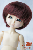 Jusuns D28053 1/8( 13-15CM) Enfant Baby short BJD wig 5-6 inch Synthetc mohair Wine red doll wigs Lati yellow doll accessories