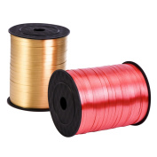 Outus Crimped Curling Ribbon Balloon Ribbons for Christmas Decoration Crafts and Gift Wrapping, Gold and Red, 5 mm by 500 Yard, 2 Rolls
