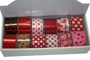 Wired Assorted Valentine Ribbon Tray Wholesale 12 rolls 10 Yards each - 120 Yards