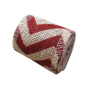 Red Shinny Chevron Design on Beige Burlap Craft Ribbon Roll,6.1cm 2 Yard