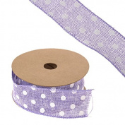 FloristryWarehouse Hessian Ribbon Lilac with Polka Dot Pattern 4.4cm x 10yd Roll