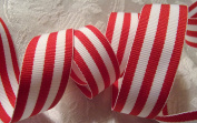 Grosgrain Ribbon -Red and White Stripes 2.2cm Wide - 5 Yards