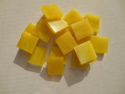FortySevenGems 100 Pieces Stained Glass Mosaic Tiles 1.3cm Yellow White Opaque Glass Textured