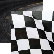 Racing Chequered Flag 12x12 Scrapbook Paper by Reminisce - 5 Sheets