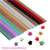 SUPPION Glitter Origami Papers Strips for Stars 13 Colours Pack