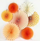 SUNBEAUTY Pack of 7 Tissue Paper Fans Collection Orange Paper Fans Party Photo Backdrop Decorations