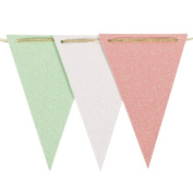 Ling's moment 3m Vintage Style Triangle Flag Bunting Banner for Wedding Birthday Baby Shower Back-to-School Party Decor, Mint Green+White+Pink Glitter, 15 Flags, Pack of 1