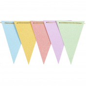 Ling's moment 3m Vintage Style Triangle Flag Bunting Banner for Wedding Birthday Baby Shower Back-to-School Party Decor, Light Blue+Yellow+Pink+Lavender+Mint Green Glitter, 15 Flags, Pack of 1