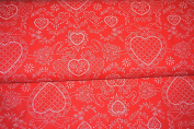Pam Kitty Love Toile Hearts in Red Cotton Fabric