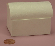 Treasure Chest Favour Box with White Embossed Fiori Floral Design - Set of 10 Boxes