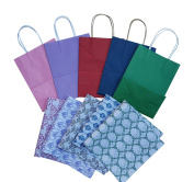 All Occasion Solid Colour Kraft Gift Bags with Patterned Kraft Tissue Paper