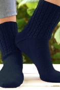 Plymouth Happy Feet 100 yarn Mock Cable Socks Knit Kit - WEDGEWOOD BLUE