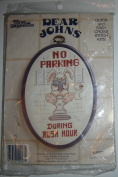 """Dear Johns Cross Stitch Kit """"No Parking During Rush Hour"""" Bunny/Bathroom Picture w/Frame"""