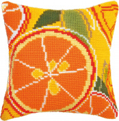 Embroidery Counted cross stitch kit Pillow Charivna mit #RT-179 Citrus paradise Orange Christmas taste 40x40 cm / 15.75x15.75 in