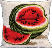 Embroidery Counted cross stitch kit Pillow Charivna mit #RT-146 Water-melon A big berry Taste of summer 40x40 cm / 15.75x15.75 in