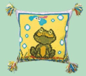 Embroidery Counted cross stitch kit Pillow Charivna mit #RT-105 Frog Smile Frog sit on the grass 40x40 cm / 15.75x15.75 in