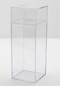 Clear Plastic Box - 5.9cm Square X 16cm Tall - 6 Boxes Per Pack