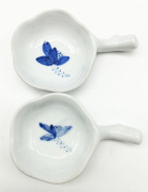 Easyou Inkwell Porcelain Handmade Ink Well with Brush Holder Decorated with Lotus Painting 2pcs/pack