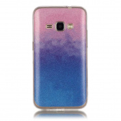 Moonmini Gradient Colour Sparkling Glitter Ultra Slim Fit Soft TPU Phone Back Case Cover for Samsung Galaxy J1 (2016) J120 - Pink + Blue