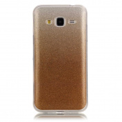 Moonmini Gradient Colour Sparkling Glitter Ultra Slim Fit Soft TPU Phone Back Case Cover for Samsung Galaxy J3 (2015) - Golden