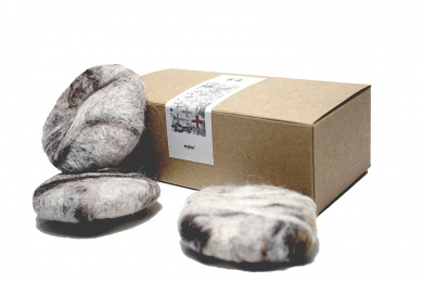 Handmade Felted Soap Pebbles by FAT FELT :: Goat's Milk Soap Wrapped in Wool Felt