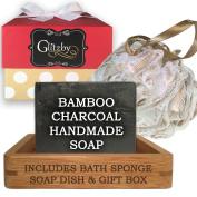 Bamboo Charcoal - Luxury Handmade Soap Bath Gift Set - Includes Loofah & Bamboo Soap Dish