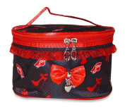 Black Red Heels and Hats Cosmetic Makeup Bag