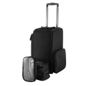 OrangeA Black Nylon Makeup Case On Wheels with Large Storage for travelling professionals