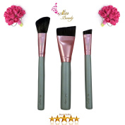 Star Beauty Contour Brush Set 3pcs Premium Quality for Precision Definition Of Contour lines- Small Angle Contour BEST SELLER–Nose Sculpting-Angled Face Brush Dramatic Cheekbones-Angled Blend Brush