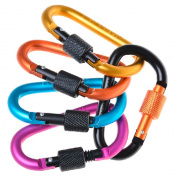 5pcs Aluminium Carabiner D-Ring Key Chain Clip Hook Keychain Keyring