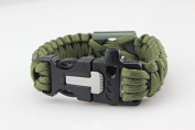 Paracord Bracelet Universal with bottle opener and fire starter of the brand PRECORN Survival rope braided bracelet for tear-resistant parachute cord Paracord Ropes 350 cord in the colour olive green (WARNING