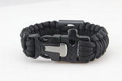 Paracord Bracelet Universal with bottle opener and fire starter of the brand PRECORN Survival rope braided bracelet for tear-resistant parachute cord Paracord Ropes 350 cord in the colour black (WARNING