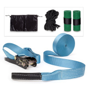 Relaxdays Slacklining Balance Training 5-Piece Slackline Set with Tree Protectors and Carrying Case - Blue