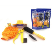 Demiawaking Bicycle Cleaning Tool Kit Chain Cleaner + Tyre Brushes + Bike Cleaning Gloves