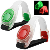 2pcs/pack MAXIN LED Light Bright Armband, Silicone Reflective Running Gear,LED Bracelet Glow in the Dark-- Safety Slap Band for Cycling Runing,Jogging High Visibility.