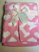 Little Darlings Chenille Baby Blanket 30 X 40 Pink and White Hearts