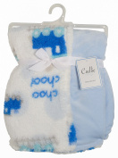 Cudlie! Double Sided Infant Blanket Printed Sherpa and Flannel Fleece Backing, Trains Print