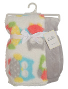 Cudlie! Double Sided Infant Blanket Printed Sherpa and Flannel Fleece Backing, Owls Print