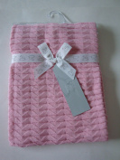 Peacock Alley Pink Knitted 100% Cotton Baby Blanket