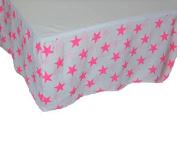 Fluro Pink Stars on White Classic CRIB SKIRT Baby Nursery Bedding Decor