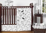 Grey, Black and White Fox and Arrow Baby Boys or Girls 11 Piece Crib Bedding Set without Bumper