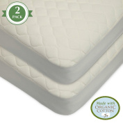 American Baby Company Waterproof Quilted Crib Size Fitted 2 Piece Mattress Cover made with Organic Cotton, Natural