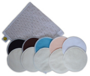 Organic Bamboo Nursing Pads (10 Pack) With Laundry Bag - Ultra Soft, Offers Good Protection Against Leaking, Reusable, Hypoallergenic, Washable Breastfeeding Pads