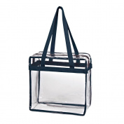 Karma Baby Crystal Transparent PVC Plastic Women Tote Bag with Zippered Top Closure, Clear