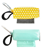 Oh Baby Bags Nappy Bag Clip-On Dispensers with Disposable Bags for Dirty Nappies and Other Messes -Set of 2 - Seafoam and Yellow Dots
